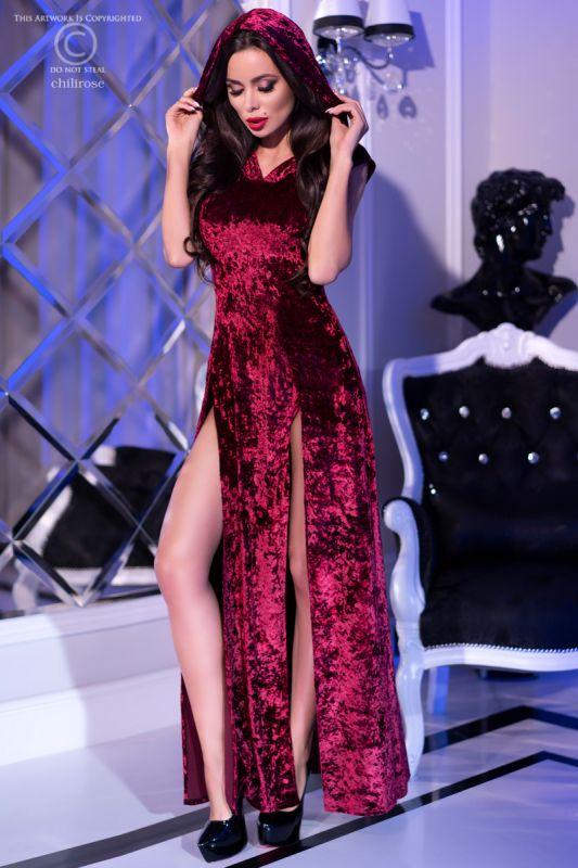 Chilirose Burgundy Hood Dress