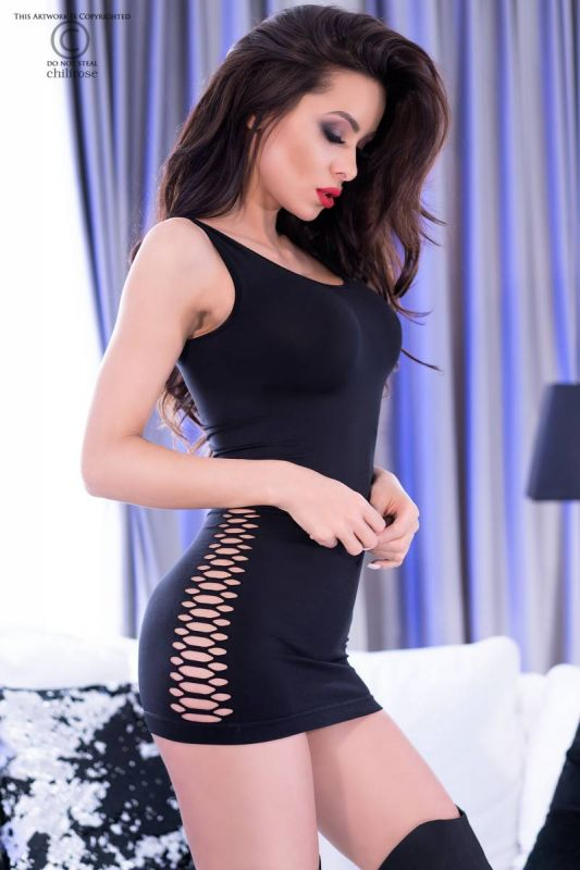 Chilirose Black Seamless Minidress