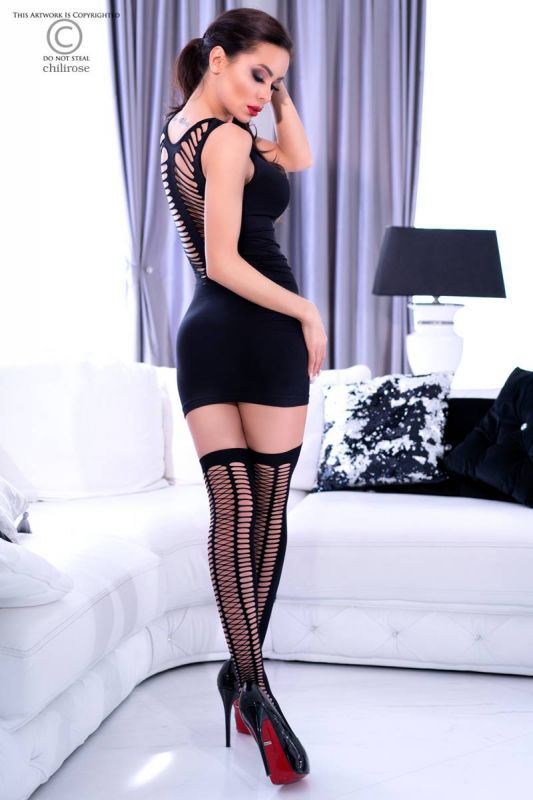 Chilirose Black Seamless Minidress with Stockings