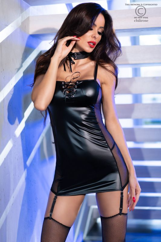 Chilirose Eco-leather Minidress Black