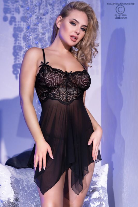 Chilirose Babydoll and String Black