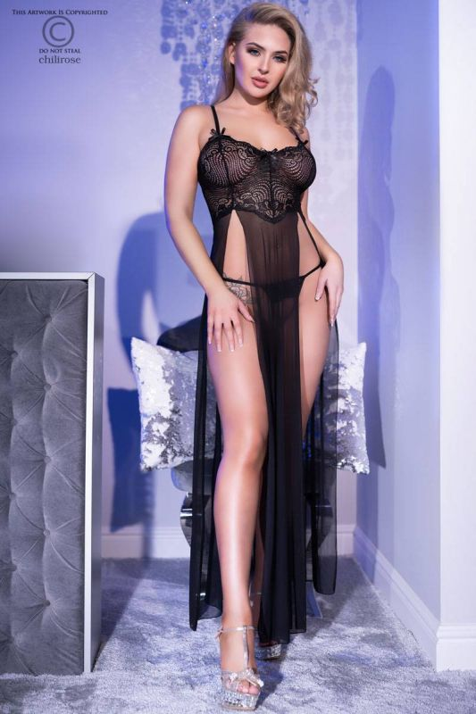 Chilirose Long Gown and String Black