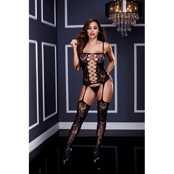 Baci - Corset Front Suspender Lace Bodystocking