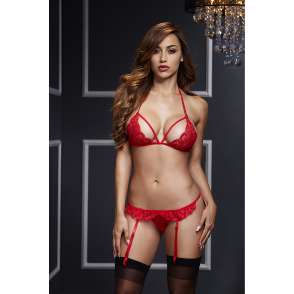 Baci - Red Lacy Bra Garter & Open Crotch Panty