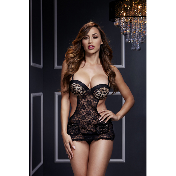 Baci - Leopard Lace Cut Out Basque