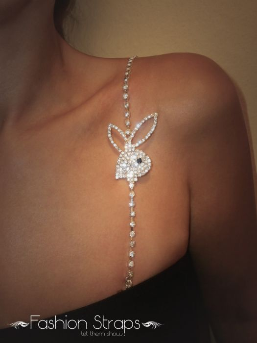Fashionstraps - Single Row Clear Diamantes With Bunny In Silver Coating