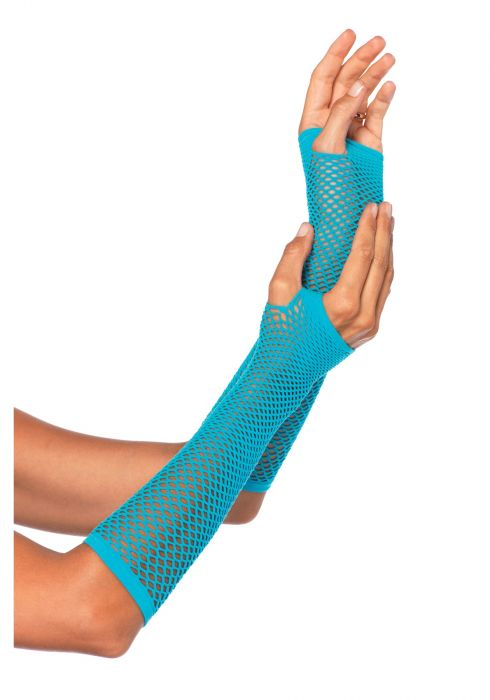 Leg Avenue Triangle Net Fingerless Gloves Neon Blue