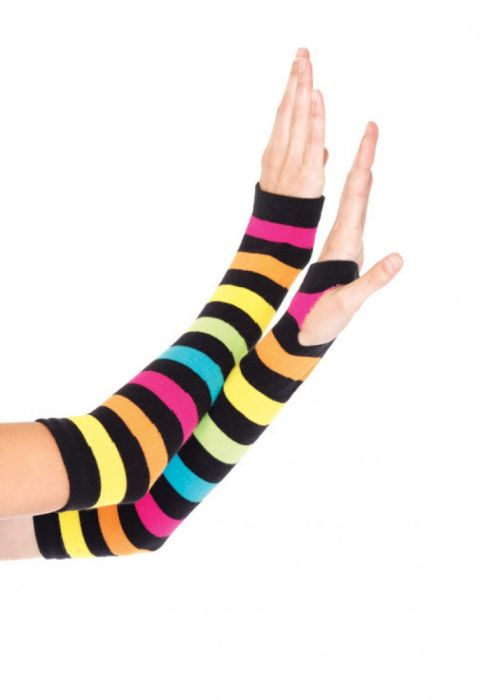 Leg Avenue Neon Rainbow Gauntlet Gloves