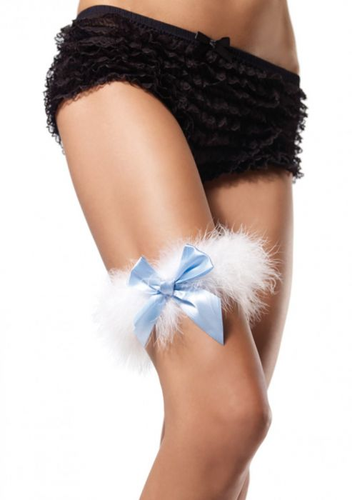 Leg Avenue Marabou Garter White-Blue