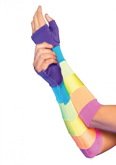 Leg Avenue -  Rainbow Fingerless Gloves