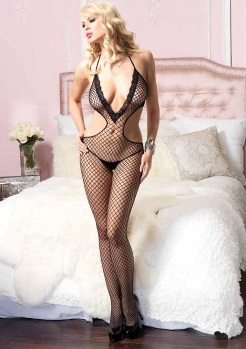 Leg Avenue Lace Trimmed Bodystocking black