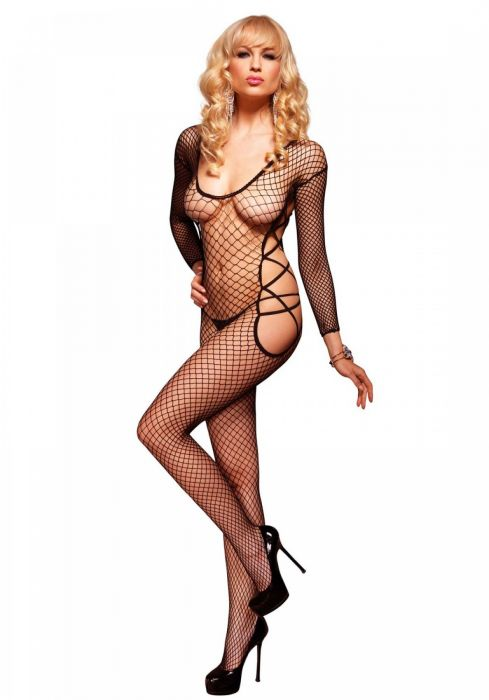Leg Avenue Sleeved Net Bodystocking Black