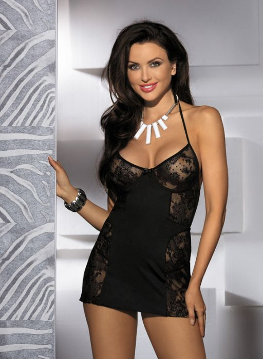 Halter Neck Floral Lace and mesh Underwired Cup Babydoll