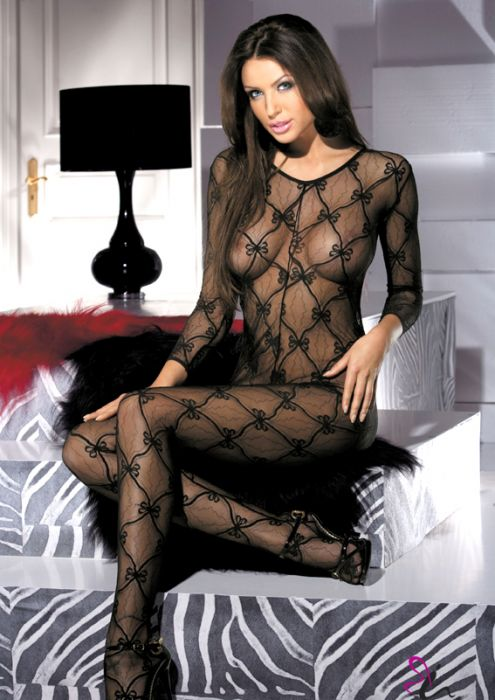 Black Bodystocking Bow Style Two