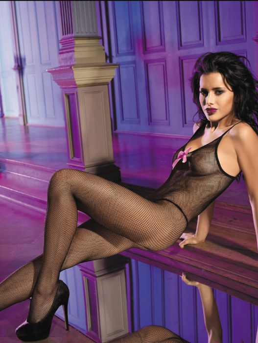Black Bodystocking With Pink Bow
