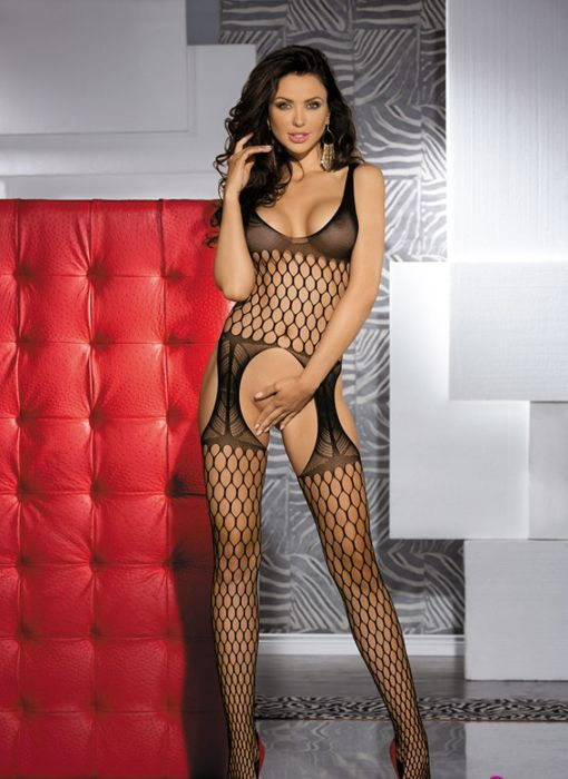 Black Sleevelss Fence Net Garter Holes Bodystocking