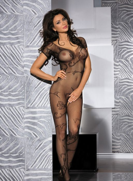 Black Short Sleeved Floral Lace Crotchless Bodystocking