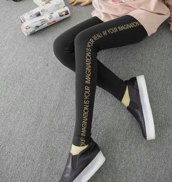 Black Leggings with Gold Letters