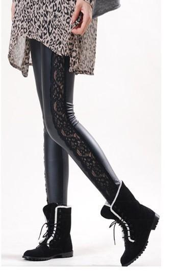 Faux Leather Patchwork Sheer Lace Leggings