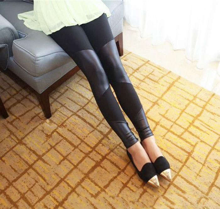 Faux Leather Stripes Leggings