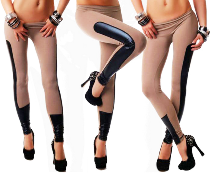 Faux Leather Stripes Leggings Brown