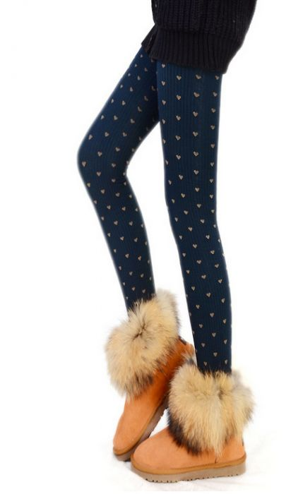 Winter Heart Pantyhose Dark Blue
