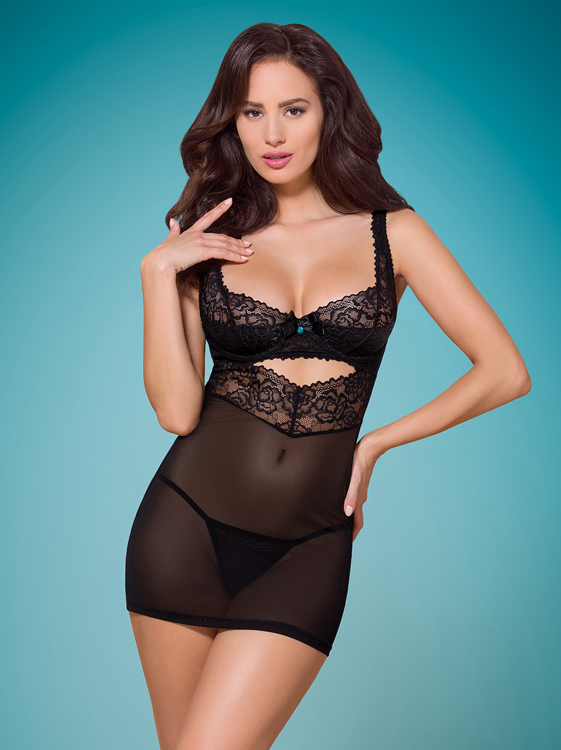 Obsessive 867-CHE-1 chemise & thong black