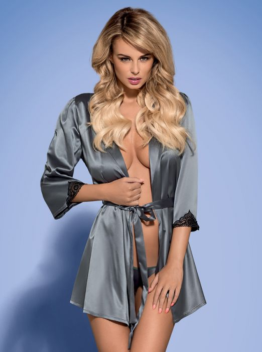 Obsessive Satinia robe grey