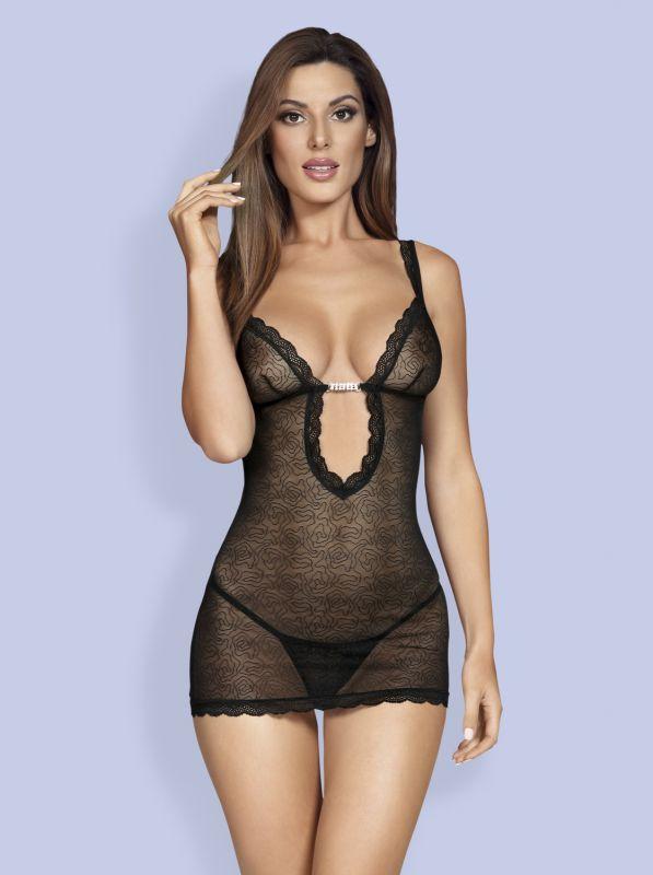 Obsessive 877-CHE-1 chemise & thong black