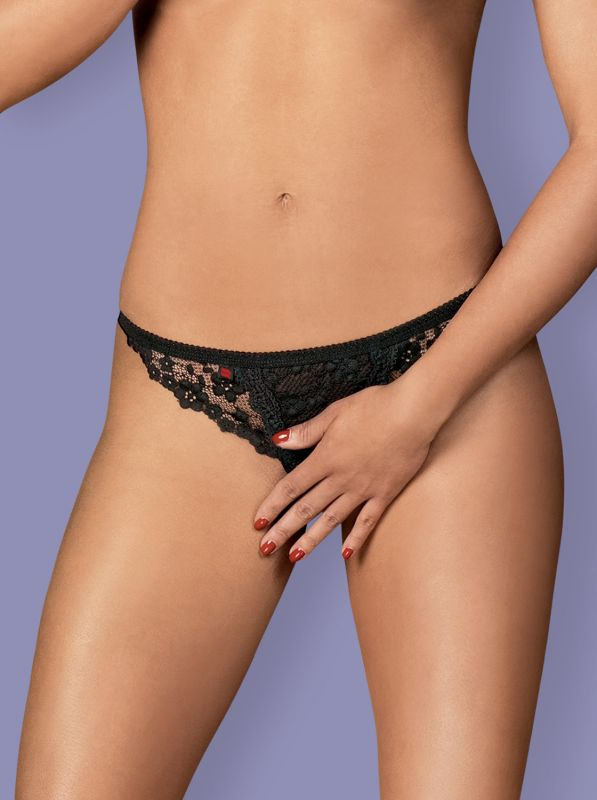 Obsessive Letica crotchless thong - MINI black