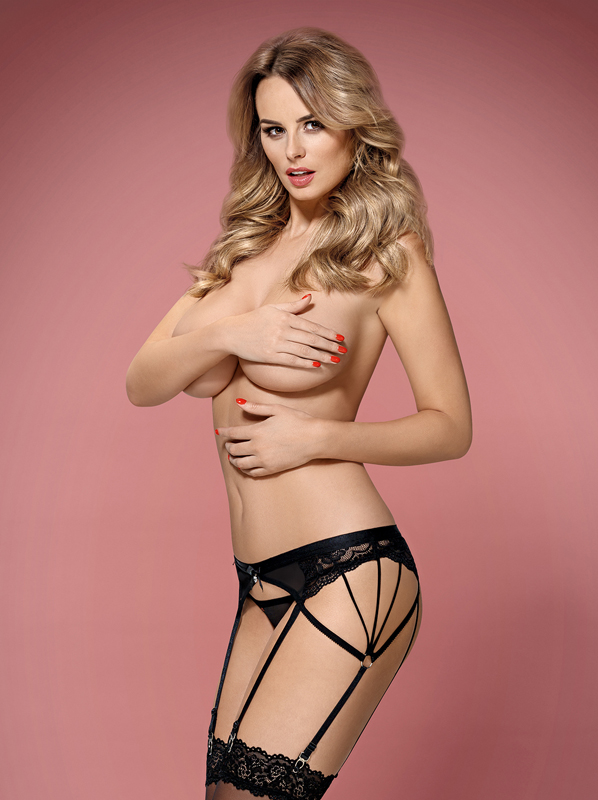 Obsessive 854-GAR-1 garter belt and thong black
