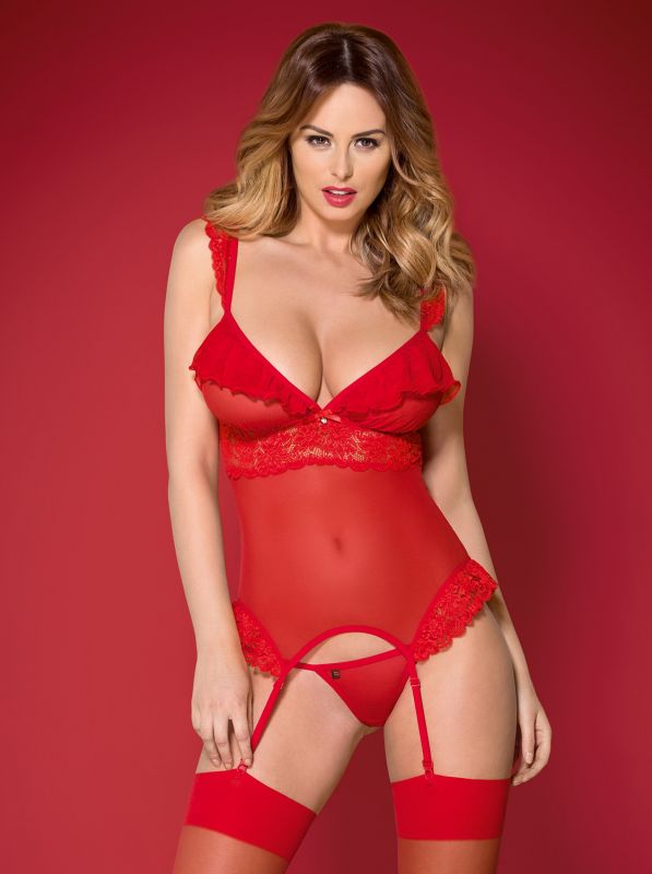 Obsessive 863-COR-3 corset & thong red