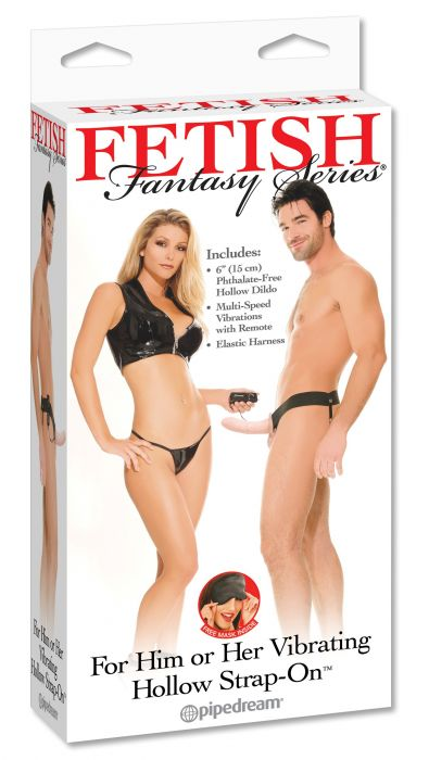 For Him or Her Vibrating Hollow Strap-On Flesh