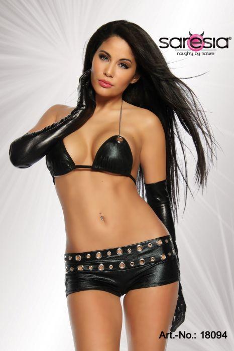 Saresia Wetlook Clubwear Top and Hot Pants Set