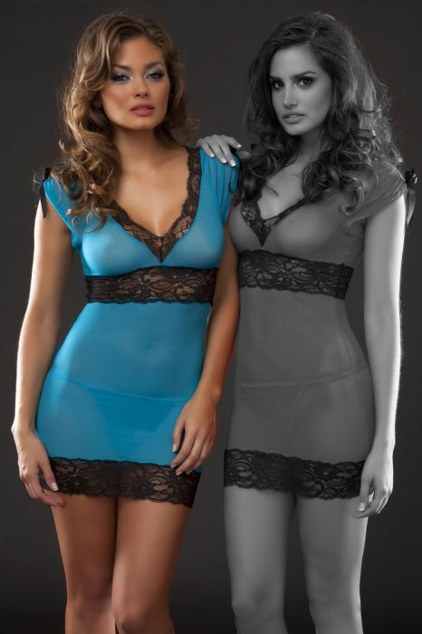 Sexy Blue Mesh Babydoll with Lace Border