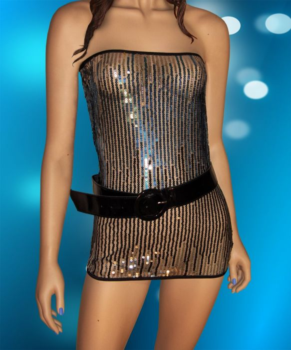 Turquoise Paillette Clubwear, Include the Belt