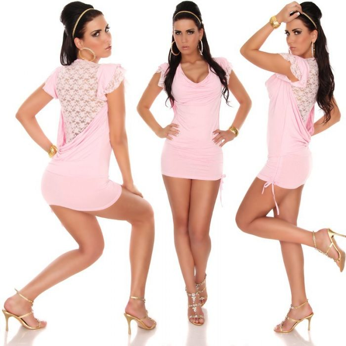 Pink Stretchy Clubwear with Lace Back