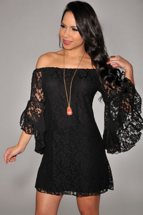 Long Sleeve Lace Black Dress
