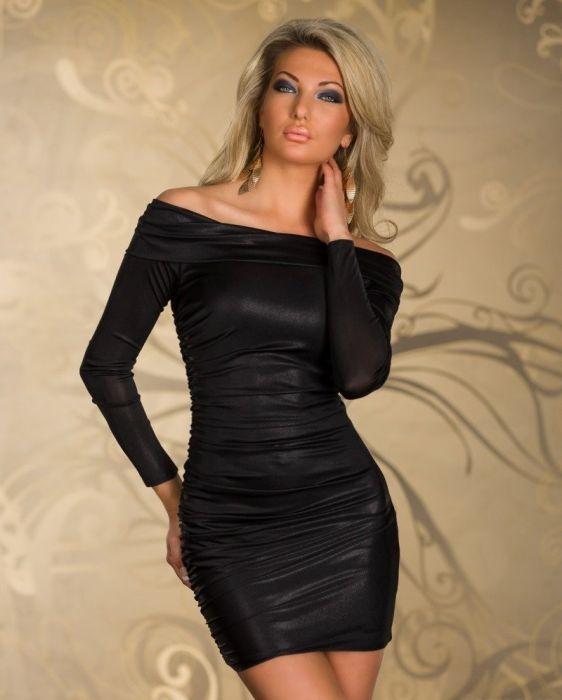 Sexy Black Long Sleeve PVC Dress