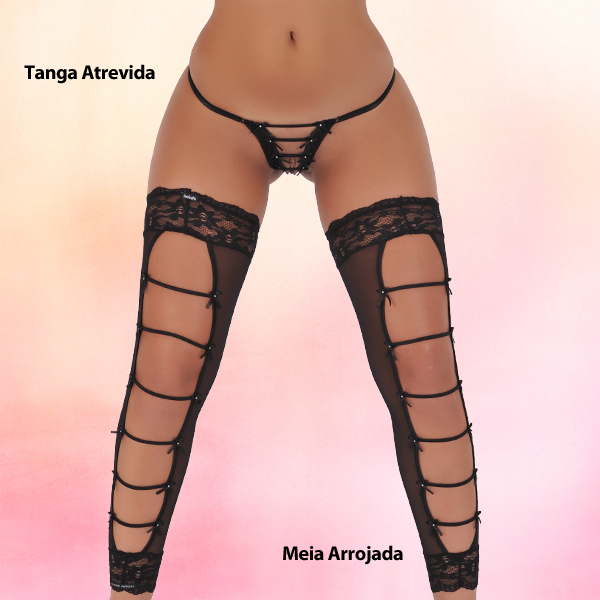 Sensualle Tanga Atrevida & Meia Arrojada Set black