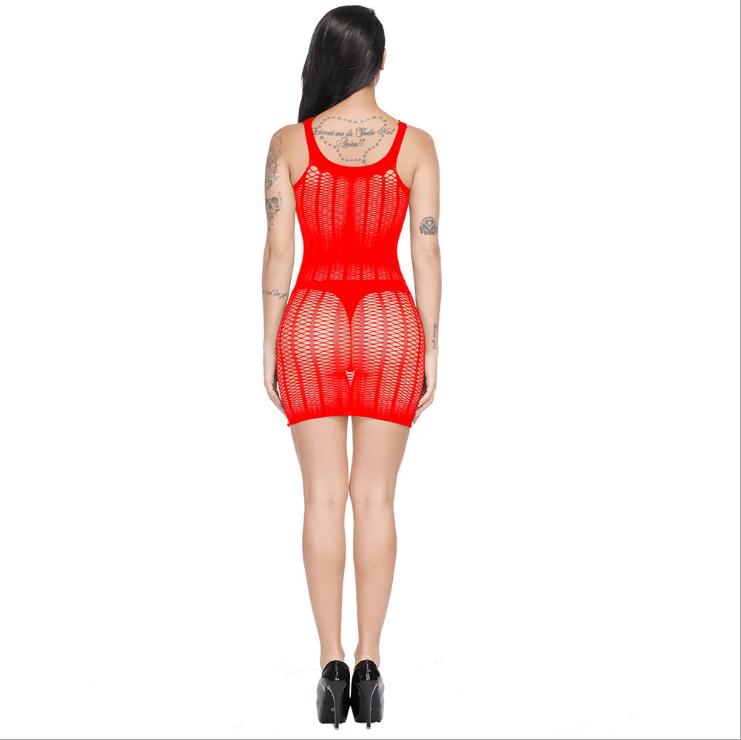 Sexy Net Mesh Mini Dress Red