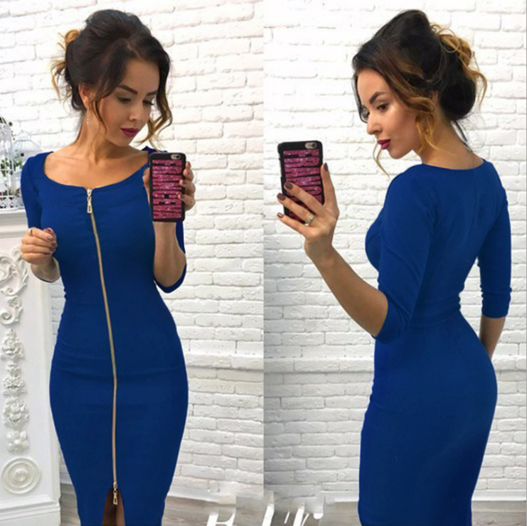 Midi Zipper Dress Blue