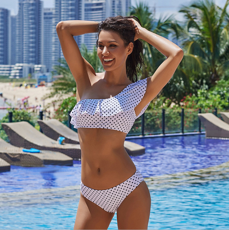 Polka Dots One Shoulder Bikini White