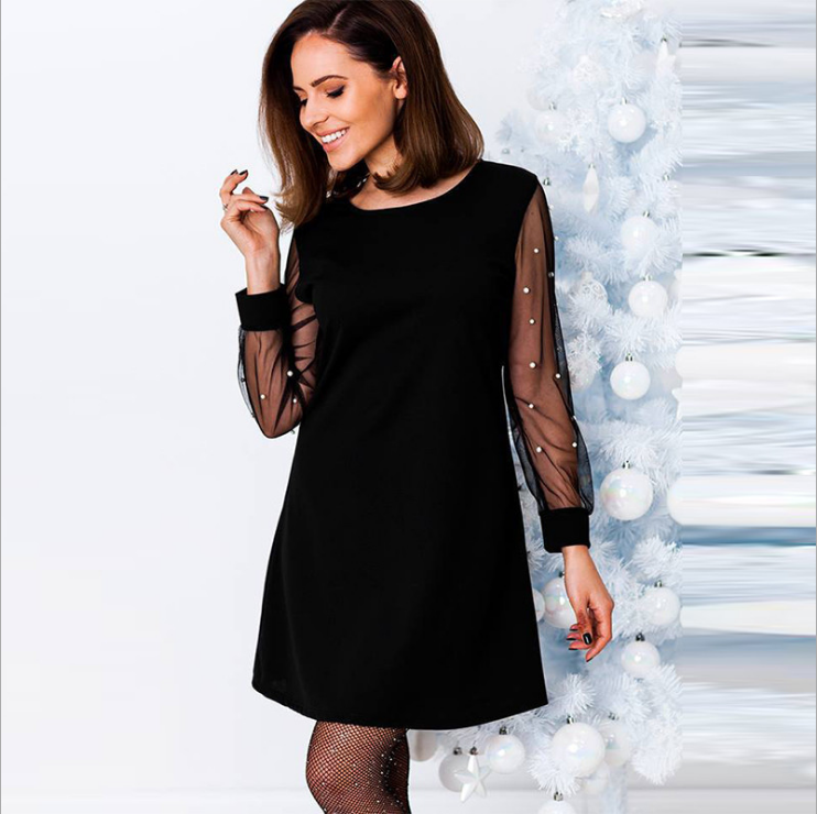 Black Dress with Pearls on Sleeves
