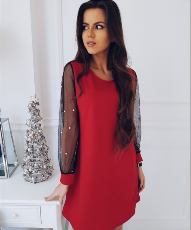 Red Dress with Pearls on Sleeves
