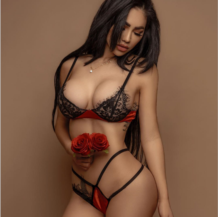 Satin Lace Set WineRed