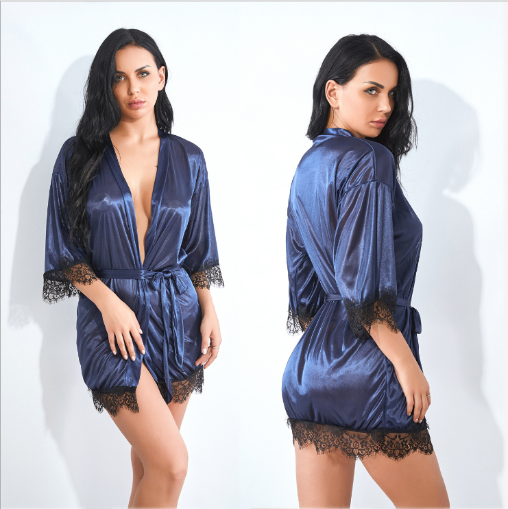 Satin Robe Navy blue