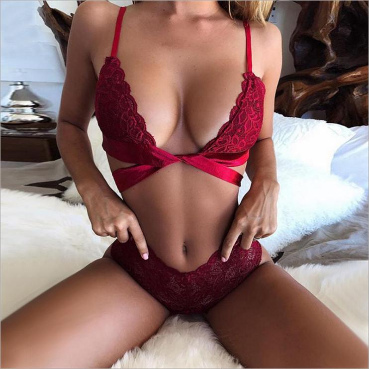 Sexy Lace Satin Set
