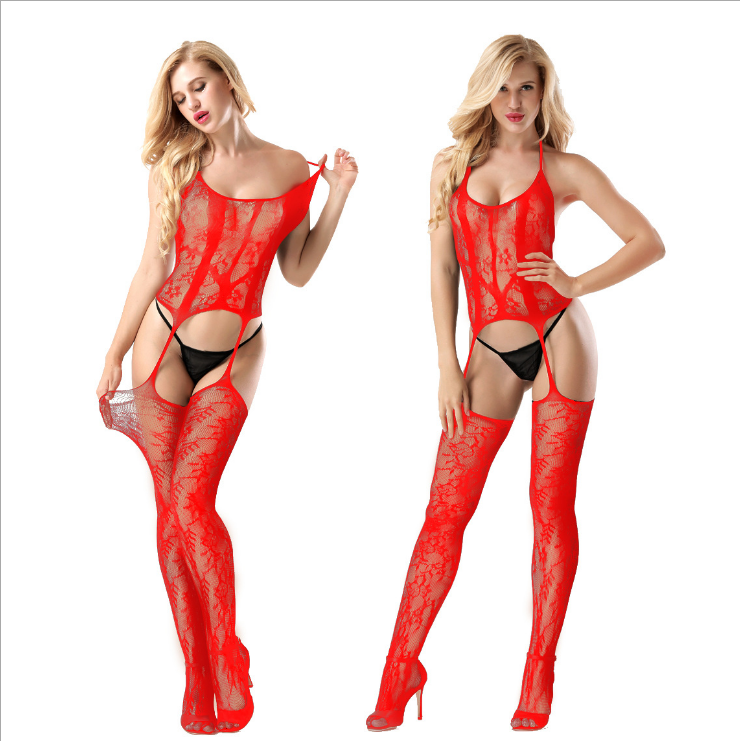 Sexy Floral Bodystocking Red