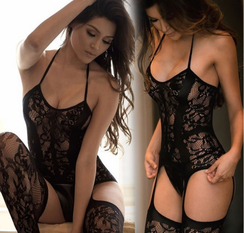 Sexy Floral Bodystocking Black